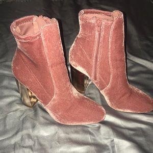 Aldo Pink Velvet Ankle Boots